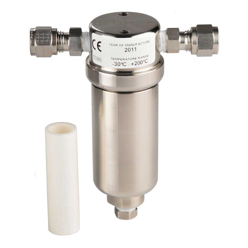 SHAW filter unit for removal of particulate contamination from sample gases