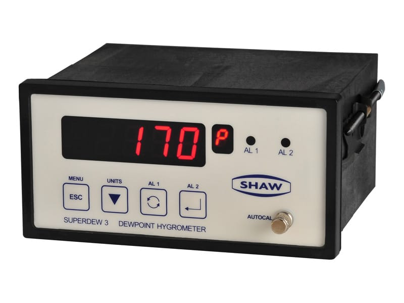 SHAW Superdew 3 inline moisture analysers, compressed air and process gas, compatible with SWS-SD3 weatherproof sample system