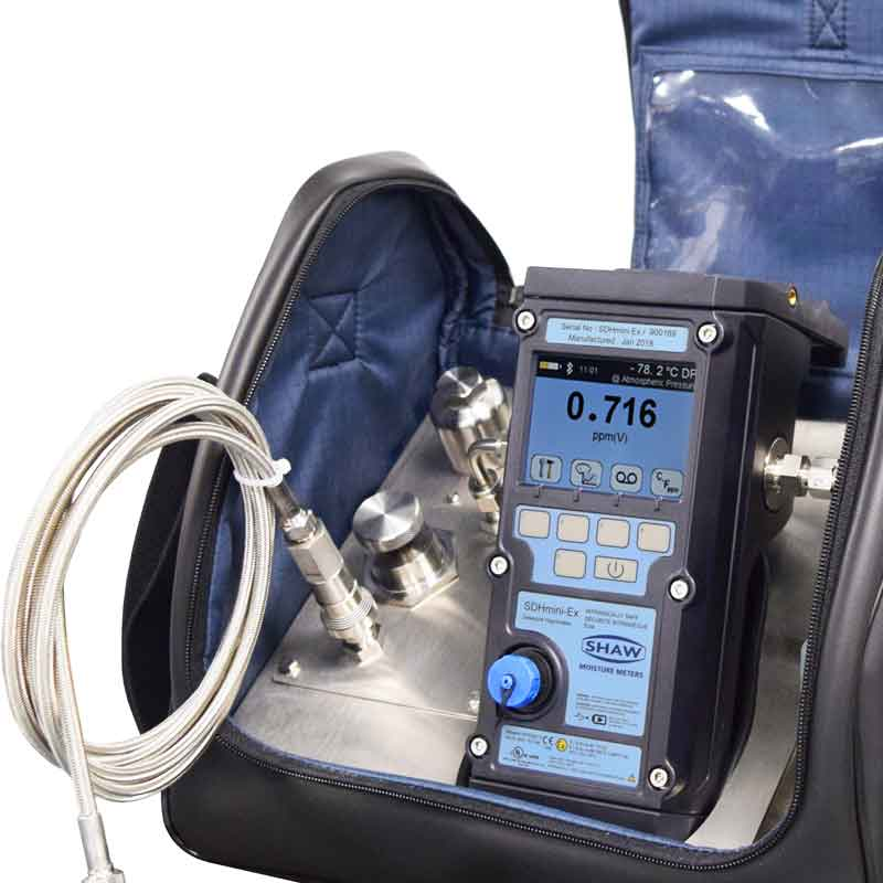 dew point meter, shaw, portable sample system, hygrometer, dew point measurement, potable dewpoint meter, hand held hygrometer, moisture analyzer, gases and compressed air, absolute humidity