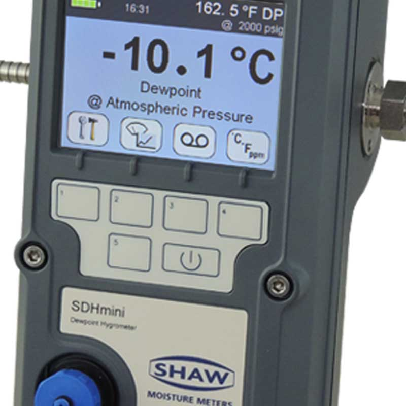 SHAW SDHmini hand held dewpoint meter for rapid moisture checks or continuous use on flowing gas or air utilises SHAW automatic calibration feature